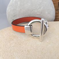 Orange Leather Braclet