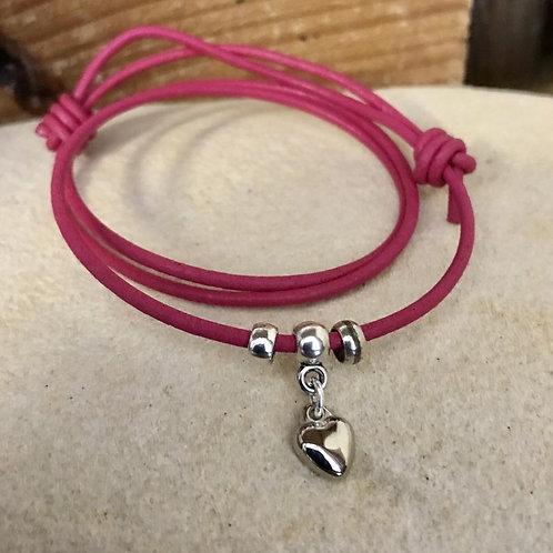 Silver Heart on Multi-wrap Leather Bracelet