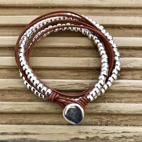 Multi-wrap leather and bead bracelet