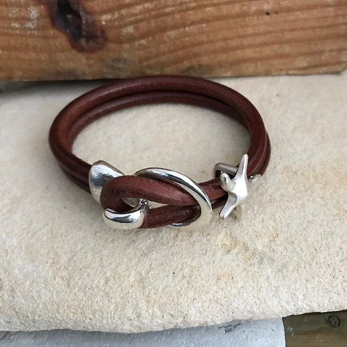 Silver Starfish and Leather Bracelet