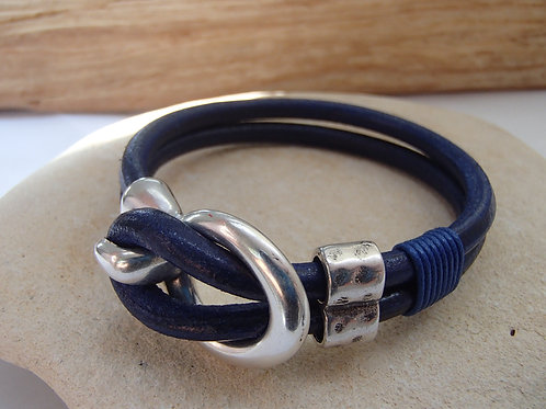 Leather Bracelet with Buckle Clasp