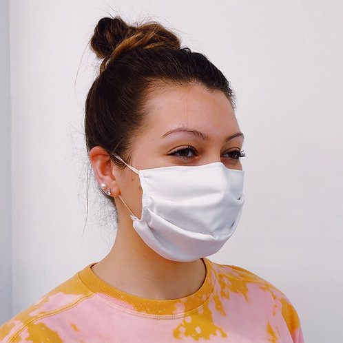 Adult Pleated Face Mask 5-Pack in White