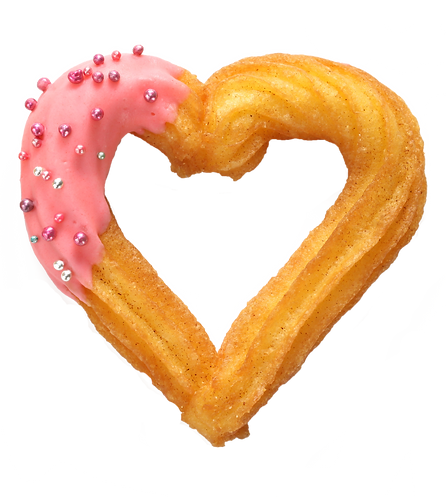 Image of a heart shaped churro with pink frosting.