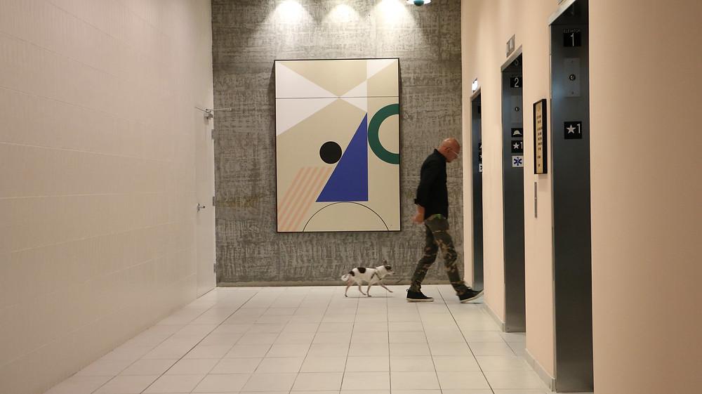Elevator lobby design with local artist Dani Hacche