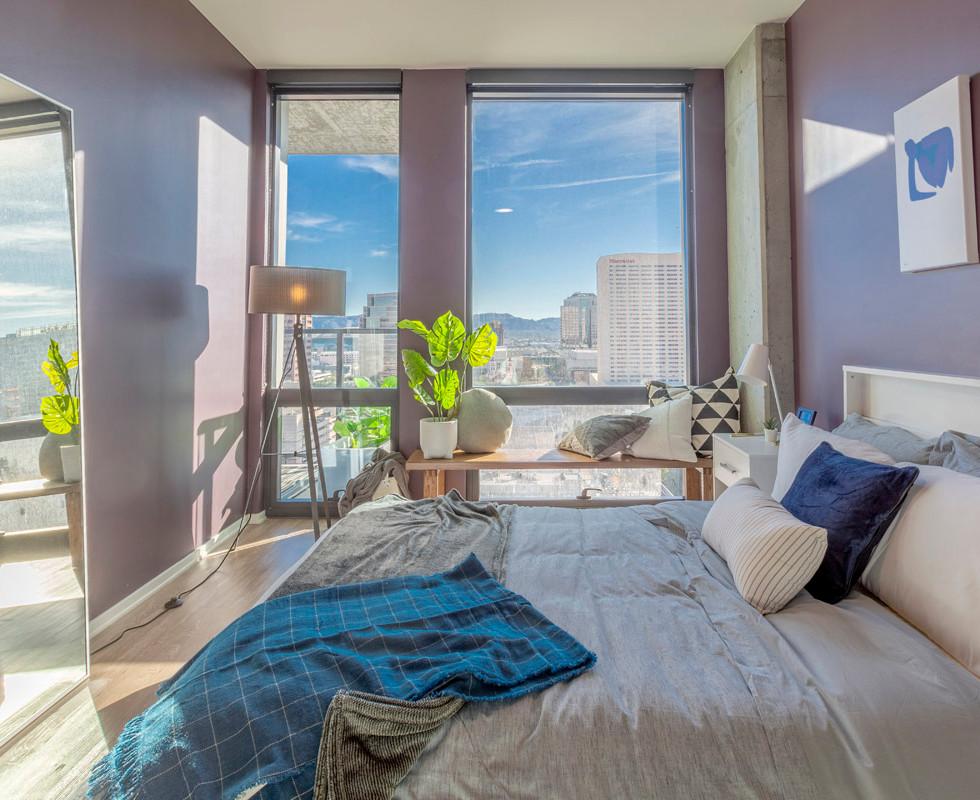 Soft-Toned Bedroom in Luxury Model Unit Staging | Kuchar