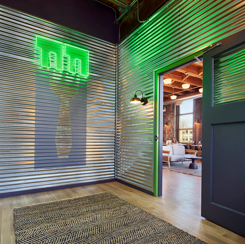 Farmer's Fridge office entry with corrugated metal and neon in Near West Side, Chicago | Kuchar