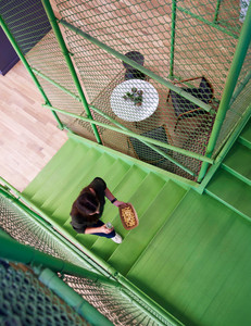 Green feature stair for Farmer's Fridge startup office in Near West Side, Chicago | Kuchar