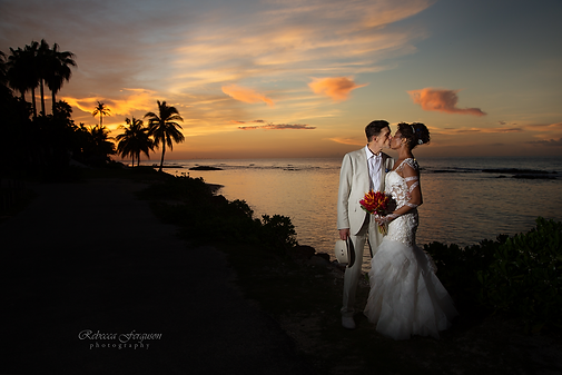 Sheree and Louis Half Moon Resort Jamaica Sunset kiss sunset wedding