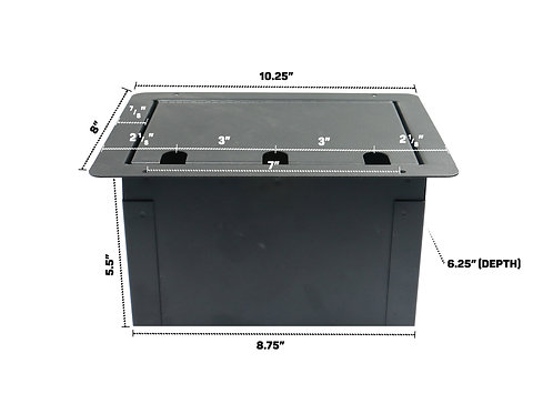Elite Core FBL6+AC Recessed Floor Box With 6 XLRF + Duplex AC with Back Box