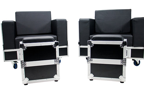 OSP ATA-GR-SET1-BLK Green Room Furniture Set  - Black with Black Cushions