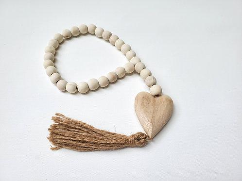 Wood Beads w/ Heart Tassle
