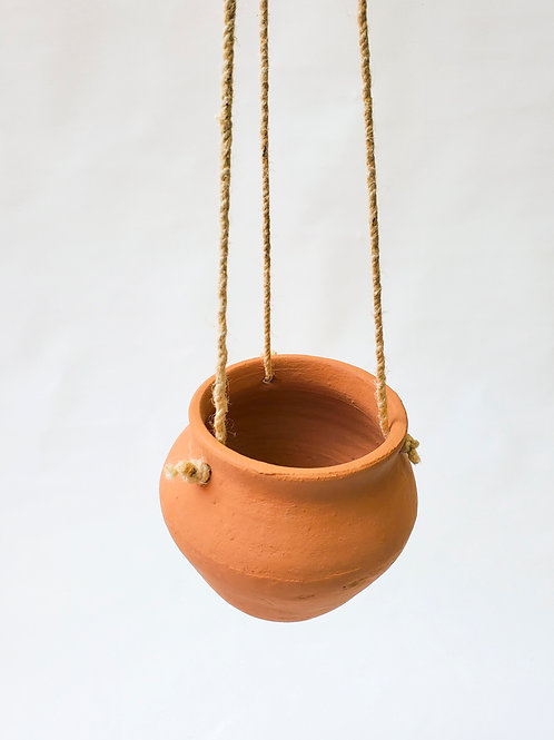 Clay and Jute Hanging Pot