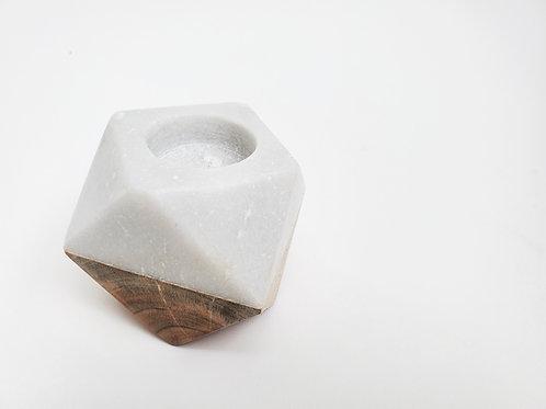 Marble & Wood Geometric Candle Holder
