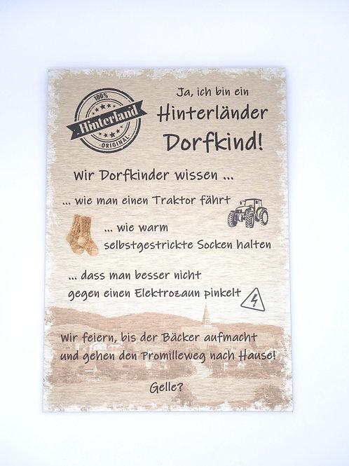 """Aluschild """"Hinterländer Dorfkind"""""""