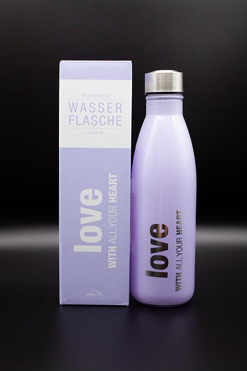 """Wasserflasche """"love"""" violett"""