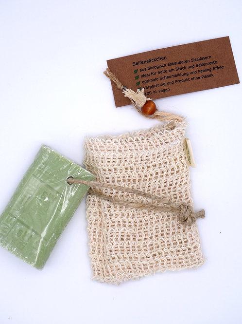 Seifensäckchen mit Seifenstück am Kordel