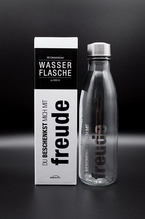 """Wasserflasche aus Glas """"Freude"""""""