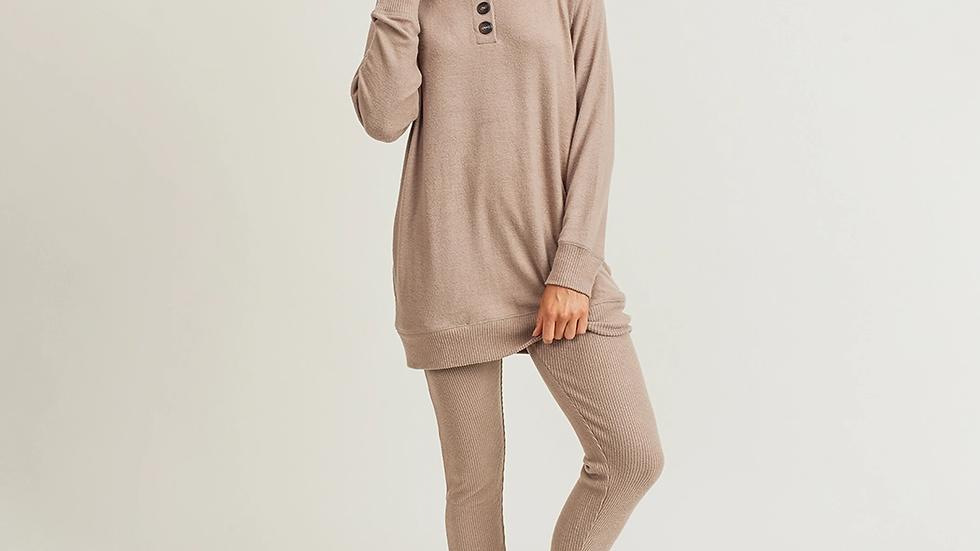 Mono B   Buttoned Raglan Longline Pullover