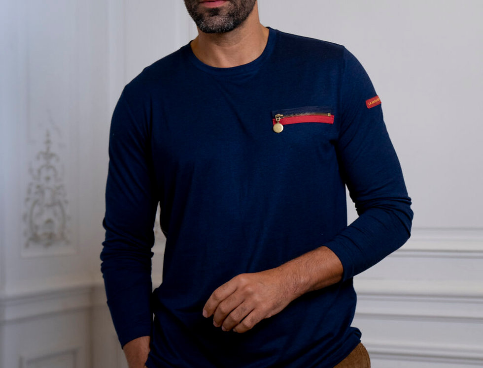 """T-SHIRT MANCHES LONGUES """"GEORGES"""" - MARINE"""