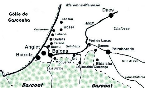 Carte gascogne Bas-Adour