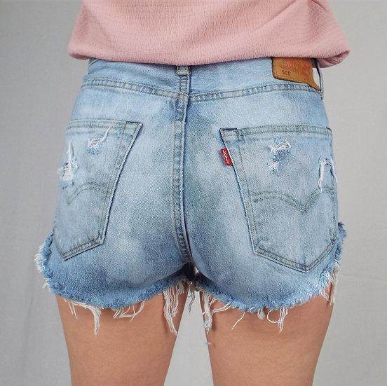 Distressed light blue levi shorts SIZE 12 UK