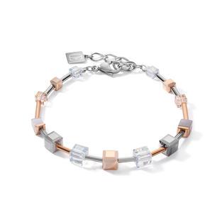 Armband GeoCUBE® big Swarovski® Kristalle, Botswana Achat & Edelstahl roségold-silber
