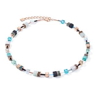 Zarte Farben, klare Formen: klassische Halskette aus der GeoCUBE® Kollektion mit echten Steinen wie Howlith, Onyx, Landschafts-Jaspis und Amazonit - handmade in Germany.