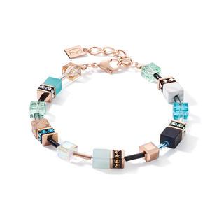Armband GeoCUBE® Swarovski® Kristalle & Edelsteine aqua-beige