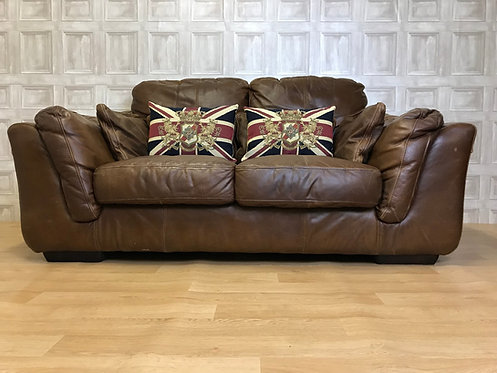 2 Seater Tan Brown Real Leather Sofa - Halo Deco Vintage Style
