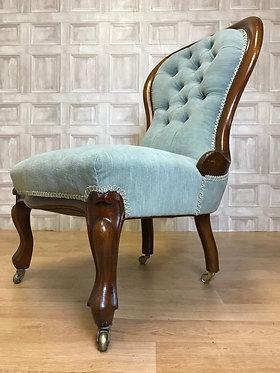 Vintage Spoon Button Back Nursing Bedroom Chair Blue - Castors