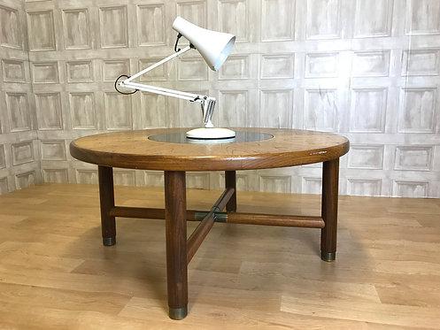 Retro Mid Century Teak Round G Plan Coffee Table - Smoked Glass