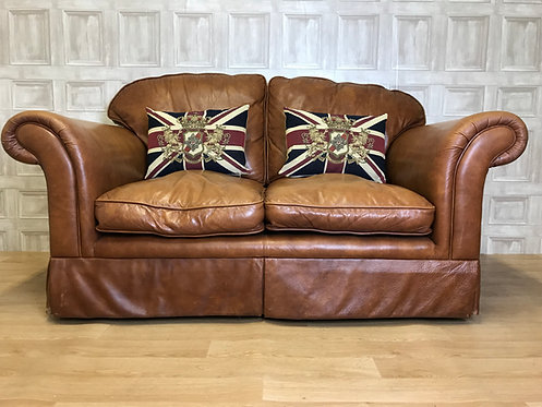GORGEOUS Laura Ashley Sofa - Brown Aniline Leather 2 Seater
