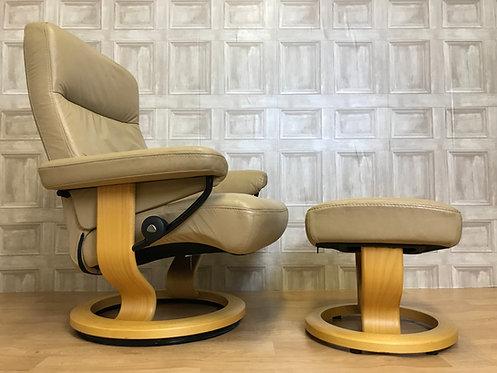 1 of 2 Ekornes Stressless Atlantic Leather Recliner Armchair