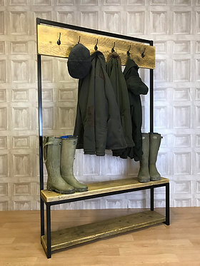 Industrial Coat / Shoe Rack - Hall Stand Rustic Bench Reclaimed Scaffold Board
