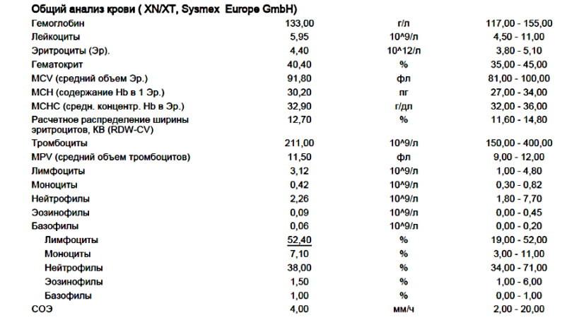 Пример общего анализа крови с лейкоцитарной формулой и СОЭ sysmex