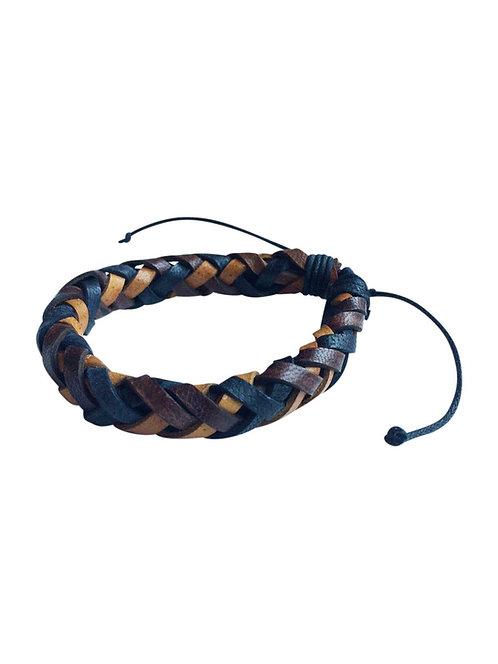 Leather Plait Bracelet Multi