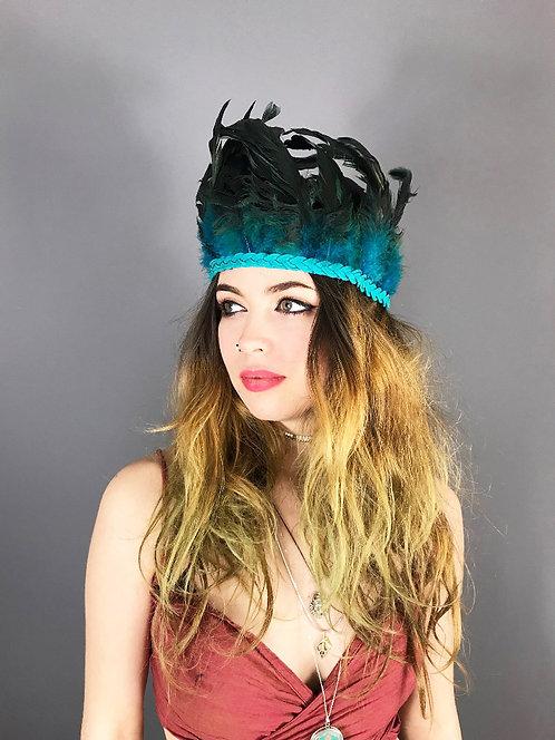 Festival Peacock Feather Headband Blue