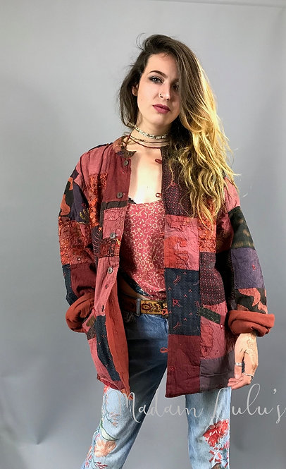 Upcycled Vintage Patchwork Quilted Kantha Jacket Red XL