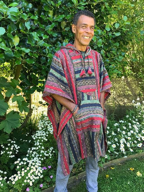 Brushed Geri Cotton Fleece Stripey Poncho