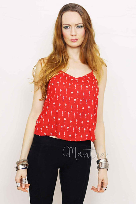 Red Print Crossback Vest Top