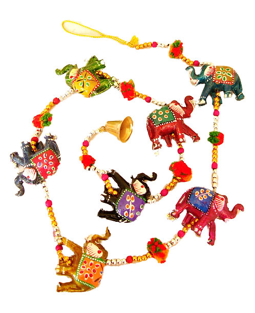 Elephant Resin Mobile with Bell