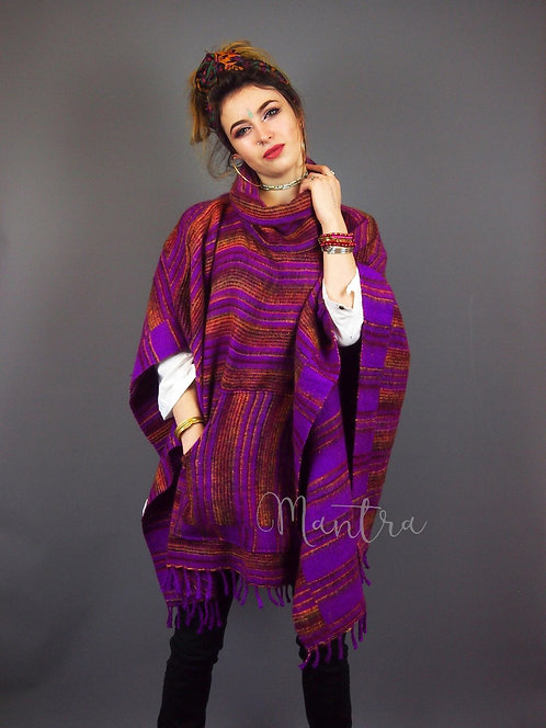 Hill Queen Cashmelon Stripe Fleece Poncho Purple
