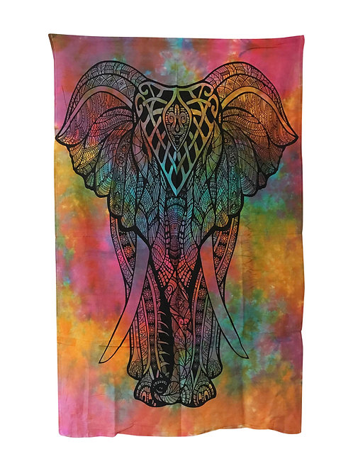 Tie Dye Psychedelic Elephant Wall Hanging