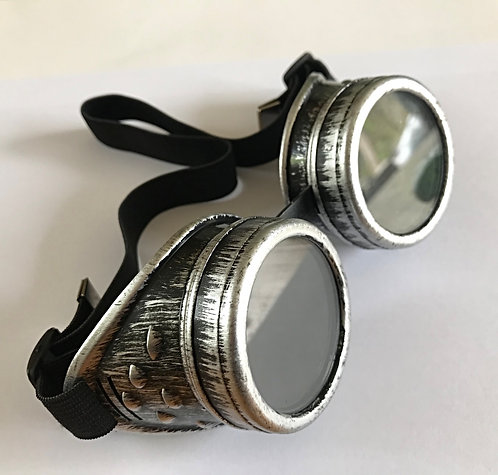 Antique Silver Effect Steampunk Goggles Glasses