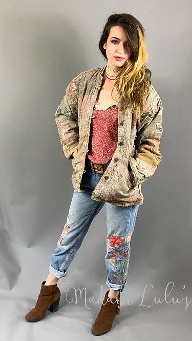 Upcycled Vintage Patchwork Quilted Kantha Jacket Beige