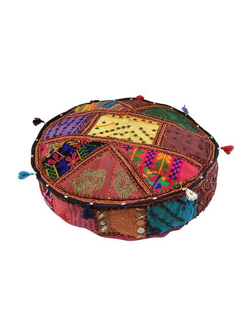 Round Vintage Patchwork Floor Cushion Pooffee