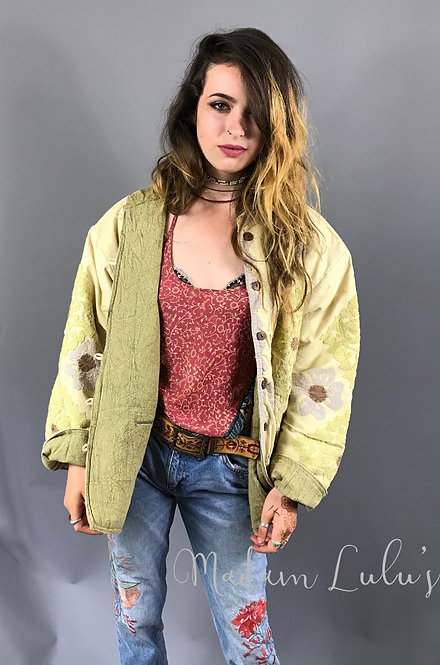 Upcycled Vintage Patchwork Quilted Kantha Jacket Pale Yellow