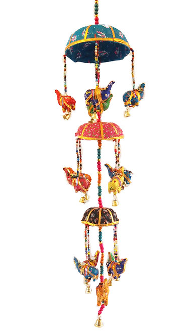 Elephant Canopy Design Cloth Mobile with Bell