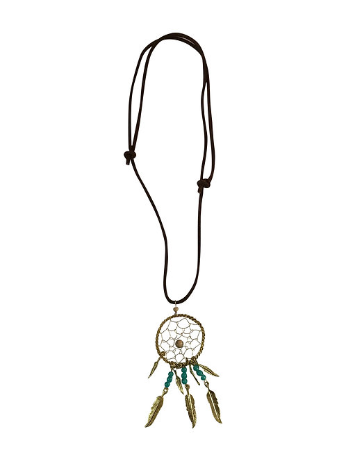 Leather and Brass Dream Catcher Necklace
