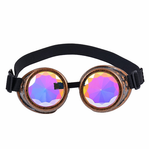 Kaleidoscope Rainbow Antique Gold Spike Steampunk Goggles Glasses